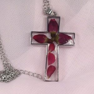 Clear Cross with Rose Petals inside